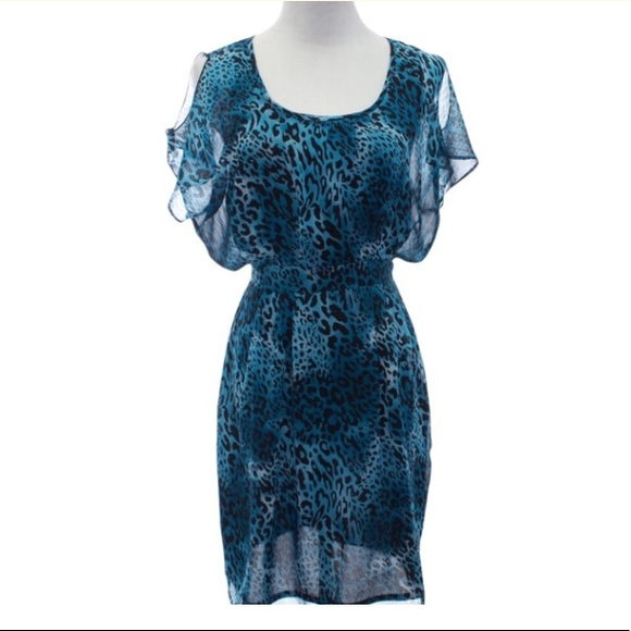 W118 by Walter Baker Teal Cheetah print Dress